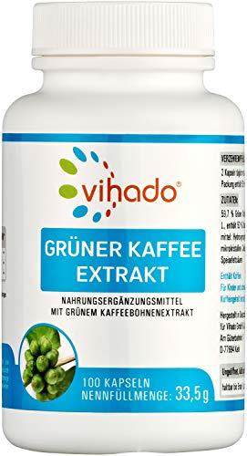 Vihado Grüner Kaffee Extrakt – hochdosiert mit 50 % Chlorogensäure – natürliches veganes Nahrungsergänzungsmittel – Grüne Kaffeebohnen ohne künstliche Zusätze – 100 Kapseln