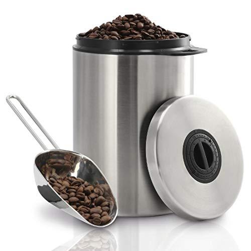Xavax Kaffeedose für 1kg Kaffeebohnen (luftdichter Kaffeebohnen-Behälter mit Kaffee-Schaufel, Aromadose aus Edelstahl, Vorratsdose zur Aufbewahrung) siber