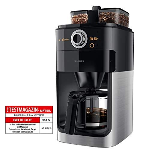 Philips Grind und Brew HD7769/00 Filterkaffeemaschine (mit Mahlwerk, Timer, doppeltes Bohnenfach) edelstahl/schwarz