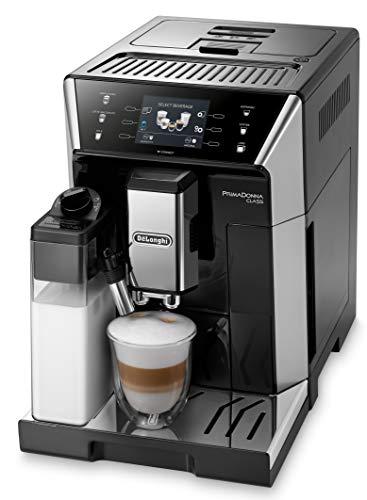 De'Longhi PrimaDonna Class ECAM 556.55.SB Kaffeevollautomat mit Milchsystem, Cappuccino und Espresso auf Knopfdruck, 3,5 Zoll TFT Farbdisplay und App-Steuerung, schwarz/silber