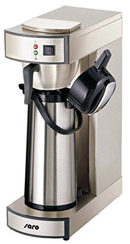 Saro 317-2085 Thermo Kaffeemaschine mit Korbfilter und Thermoskanne Industriekaffeemaschine mit Pumpkanne (2,2 Liter, ca. 10 Tassen Kaffee, Brüh-& Warmhaltefunktion), Silber, 1.8 liters
