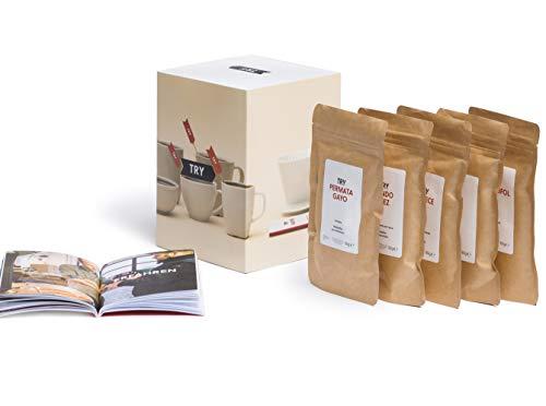 TRY Kaffee Geschenkset - bekannt aus 'Die Höhle der Löwen' - fünf Spitzen-Kaffees aus aller Welt & 60-seitiges Booklet - das perfekte Geschenk für alle Kaffee-Fans! (gemahlen)