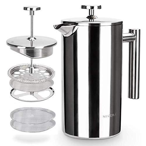 Secura Kaffeebereiter, Französische Kaffeepresse, French Press aus Edelstahl, Caffettiera, Kaffeekanne mit Edelstahlfilter, 1 Liter, in Silber
