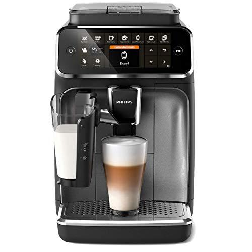 Philips 4300 Serie EP4346/70 Kaffeevollautomat, 8 Kaffeespezialitäten (LatteGo Milchsystem) Matt-Schwarz/Silber-lackierte Arena