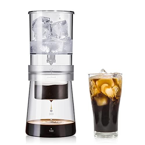 Eis-Tropf Kaffeezubereiter (Ice Drip) 300ml - Kalt- Brüh Eiskaffee Kaltgebrühten Tropfer, Kalt-Tropf Kaffeekonzentrat Brüher mit einstellbarem Tropfventil, Edelstahlfilter