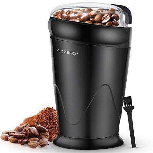 Aigostar Kaffeemühle elektrische Mühle für Kaffeebohne Leinsamen Nuss Gewürze Getreide Klein Bohnenmühle mit Pinsel Edelstahlmesser 60g Bohnenbehälter 150W Schwarz
