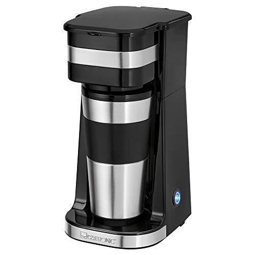 Clatronic 1-Tassen-Kaffeeautomat KA 3733, inkl. doppelwandigem Thermo-Edelstahlbecher, Aromaverschlussdeckel mit Trinköffnung, 400 ml Fassungsvermögen, passend für alle gängigen Getränkehalter