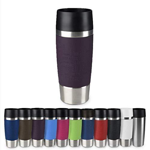 Emsa 513359 Travel Mug Classic Thermo-/Isolierbecher, Fassungsvermögen: 360 ml, hält 4h heiß/ 8h kalt, 100% dicht, auslaufsicher, Quick-Press-Verschluss, 360°-Trinköffnung, brombeer
