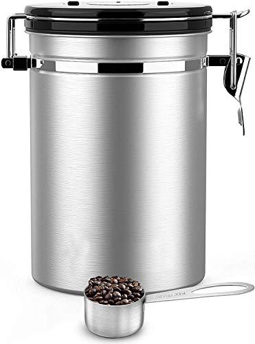Movaty Kaffeedose Luftdicht,Kaffeebehälter,Kaffeedose Edelstahl Aromadose Vorratsdose Vakuum Dose für Kaffeebohnen, Pulver, Tee, Nüsse, Kakao(Silber, 21 oz)