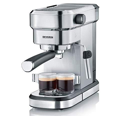 SEVERIN Espressomaschine 'Espresa', Siebträgermaschine mit 3 Einsätzen, Kaffeemaschine mit Milchschäumer für Kaffee-Milch-Spezialitäten, Edelstahl-gebürstet/schwarz, KA 5994