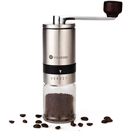 VIENESSO Kaffeemühle Manuell/Hand mit Keramikmahlwerk | manuelle Kaffee- und Espressomühle mit 6 Mahlstufen | Hand Kaffeemühle aus Edelstahl und Glasbehälter + E-Book (Silber)