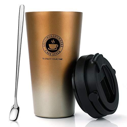 MojiDecor Thermosflasche Trinkflasche Edelstahl 500ml, Wasserflasche Vakuum Isolierbecher, 100% Auslaufsicher, Schnell öffnen, Reisebecher Isolierflasche für Hitze und Kälte | BPA FREI (Farbverlauf-Gold)