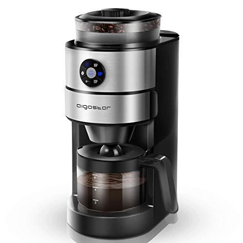 Aigostar Filtermaschine mit Mahlwerk, 680-820W, 800ml Glaskanne, Kaffeemaschine Für Kaffeebohnen und Filterkaffee, Tropfschutz, Warmhalteplatte, Edelstahl/Schwarz