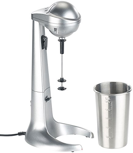 Rosenstein & Söhne Milchshaker: Elektrischer Drink-Mixer mit Edelstahl-Becher, 65 Watt (Milchshaker elektrisch)