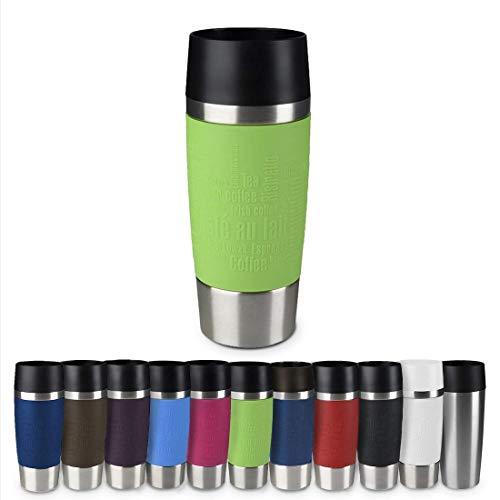 Emsa 513548 Travel Mug Thermo-/Isolierbecher, Fassungsvermögen: 360 ml, hält 4h heiß/ 8h kalt, 100% dicht, auslaufsicher, Easy Quick-Press-Verschluss, 360°-Trinköffnung, limette