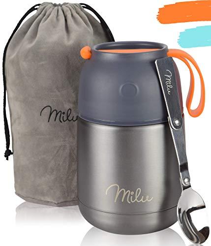 Milu® Thermobehälter 450 & 650ml | Edelstahl Warmhaltebehälter | Essensbehälter | Speisegefäß Baybnahrung | Essen warmhalten Behälter | Thermo Lunchbox | Müsli to go | (Grau, 450)