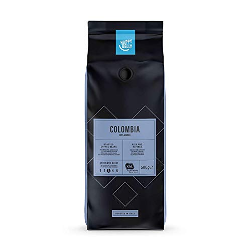 Amazon-Marke: Happy Belly Röstkaffee, ganze Bohnen 'COLOMBIA' (2 x 500g)