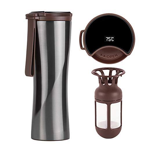 KISS KISS FISH Thermobecher, 430ml Edelstahl Trinkflasche, Intelligente Touch Kaffeebecher mit OLED Temperaturanzeige einschließlich Kaffeefilter (Grau)