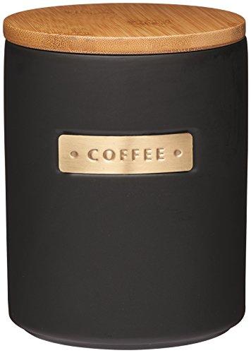 KitchenCraft MCCOFFEECOP Hochwertige Steingut-Dose mit Messing-Emblem, mit luftdichtem Deckel aus Bambus, keramik, schwarz, 11.1 x 11.1 x 14.5 cm