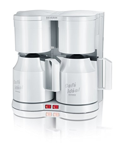 SEVERIN KA 5827 Duo-Kaffeemaschine (Für gemahlenen Filterkaffee, 2x 8 Tassen, Inkl. 2 Thermokannen und Teefilter) weiß