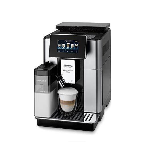 De'Longhi PrimaDonna Soul ECAM 612.55.SB Kaffeevollautomat mit Milchsystem & Bean Adapt Technologie, EXKLUSIV BEI AMAZON, 18 Rezepte per Knopfdruck, mit Farbdisplay & App-Steuerung, silber