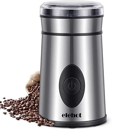 Kaffeemühle Elektrische Kaffeemühle mit Edelstahl Schlagmesser für Kaffeebohnen Nüsse Gewürze Getreide von ELEHOT (Edelstahl)