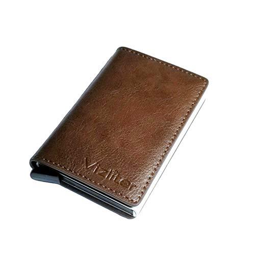 Vizliter Minimalistische RFID-blockierende Geldbörse, Slim Wallet, Geldbörsen für Männer mit schlankem Pop-Up-Kartenhalter (Kaffee)