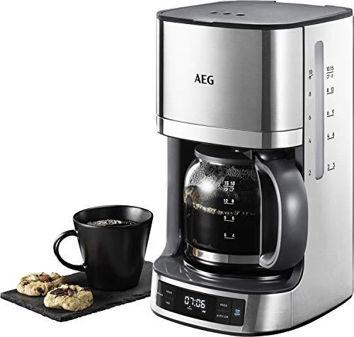 AEG KF 7700 Kaffeemaschine / programmierbarer Timer / LCD-Display / Aroma-Funktion / einfaches Befüllen / Wasserstands- und Kaffedosierungs-Anzeige / 1,375 l / gebürstetes Edelstahl