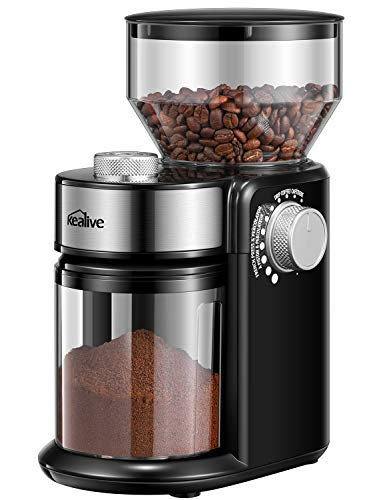 Kealive Elektrische Kaffeemühle, Kaffeemühle, mit 250 g Bohnen, 14 Mahlgrad, Anzahl der Tassen, verstellbar, Kaffeemühle aus Edelstahl, Kegelmahlwerk, Gewürze, Pfeffer, 150 W