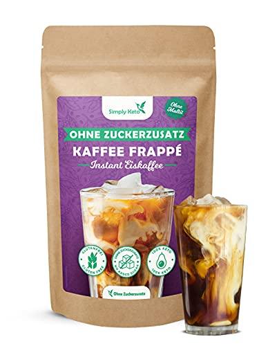 Simply Keto Frappé Pulver 200g - Low Carb Instant Eiskaffee Pulver für 11 Portionen - Eiskaffee ohne Zucker - Zubereitung in 2 Minuten - Perfekt für eine Low Carb Diät oder ketogene Ernährung