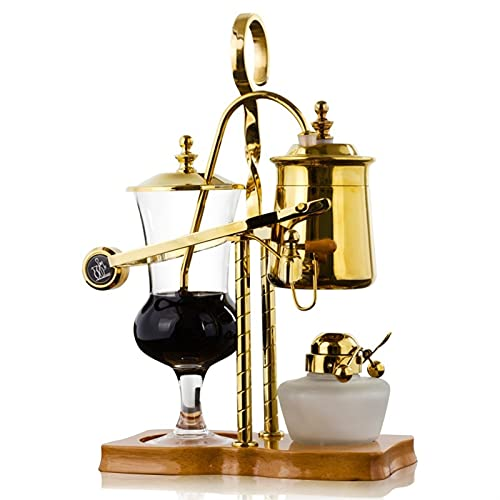 XXJIC Belgian/Belgien Luxus Royal Family Balance Siphon Kaffeemaschine, Edelstahl Kaffeepressen Elegant Retro-Design-Konstruktionskapazität 400ml / 14 oz (Color : Gold)