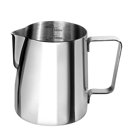Anpro Milchkännchen, 600ml Milk Pitcher Milchkanne aus Edelstahl, perfekt für Cappuccino, Milchaufschäumer, Silber, MEHRWEG