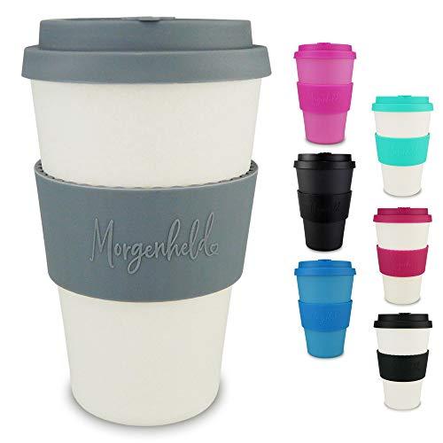 Morgenheld Dein trendiger Bambusbecher | Coffee-to-Go-Becher | Kaffeebecher mit Silikondeckel und Banderole in coolem Design, 400ml - Natural Grey