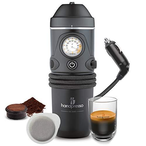 Handpresso - Handpresso Auto 48261 Espresso-Kaffeemaschine, Tragbare Kaffeemaschine für Auto 12V (Zigaretttenanzünder), ESE-Pod oder gemahlenen Kaffee