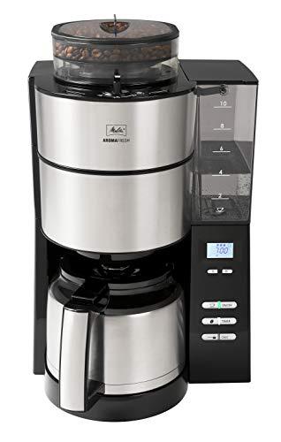 Melitta AromaFresh 1021-12 Filter-Kaffeemaschine mit Therm-Kanne und integriertem Mahlwerk, ca. 10 Tassen, schwarz