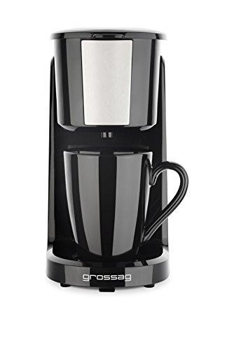 grossag Single-Kaffeemaschine KA 8.17 Schwarz-Edelstahl 1- Tassen Kaffeeautomat 150ml Permanent-Filter 380W
