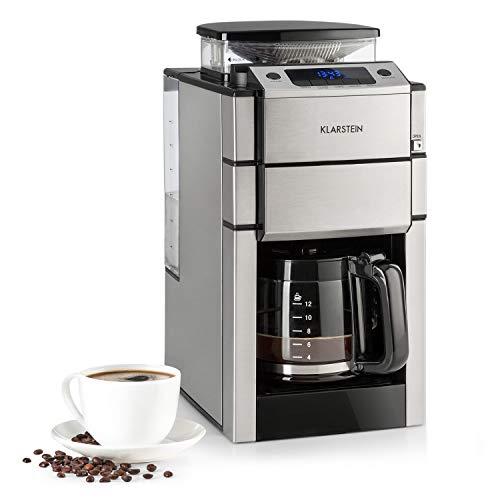 Klarstein Aromatica X Kaffeemaschine - 3-stufiges Mahlwerk, Timer, LED-Display, Warmhaltefunktion, Edelstahl, inkl. Glaskanne und Zubehör, silber