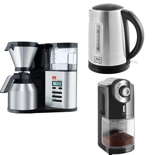 Melitta Aroma Elegance Therm Deluxe 1012-06 Filterkaffeemaschine + Melitta Wasserkocher + Melitta 1019-02 Kaffeemühle
