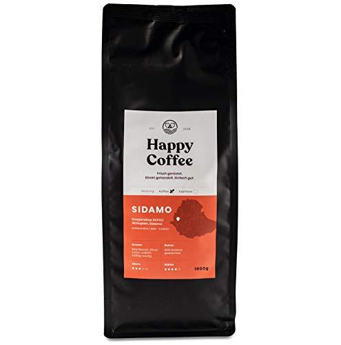 HAPPY COFFEE Bio Kaffeebohnen 1Kg [SIDAMO] Extra Stark I Frische fair-trade Kaffeebohnen direkt aus Äthiopien I Arabica Kaffee ganze Bohnen I Ideal für Vollautomat und Siebträger