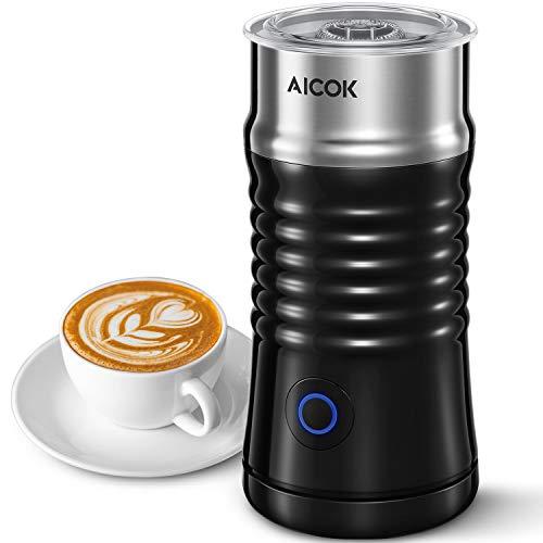 Milchaufschäumer Elektrischer, Aicok 240ml 500W Automatischer Edelstahl Milchschäumer, Leiser, Antihaftbeschichtung, für Erhitzen und Aufschäumen, Kaffee, Latte, Cappuccino