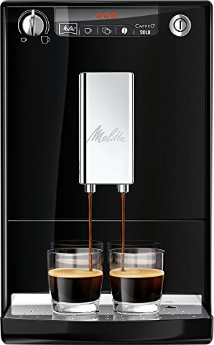Melitta Caffeo Solo E950-101 Schlanker Kaffeevollautomat mit Vorbrühfunktion   15 Bar   LED-Display   höhenverstellbarer Kaffeeauslauf   Herausnehmbare Brühgruppe   Schwarz
