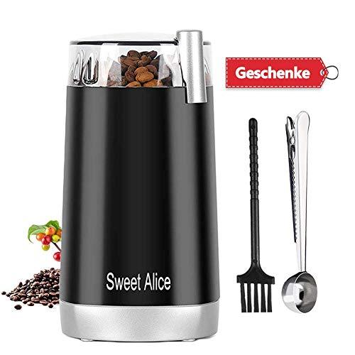 Kaffeemühle Elektrische Klein kaffeemuehle Kaffeebohnen Nüsse Gewürze Getreide Mühle mit mit Edelstahl Schlagmesser 45g Fassungsvermögen,150W,Geräuscharm - Pinsel und Löffel einschließen