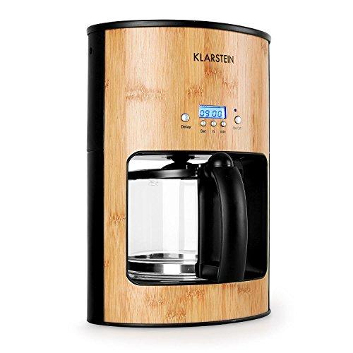 Klarstein Bamboo Garden - Kaffeemaschine, Kaffeeautomat, Coffee-Maker, 1080 Watt, 1,25 L, für 10-12 Tassen, Tropfschutz, Warmhalteplatte, Timer, Filterhalter herausnehmbar, Bambus, braun