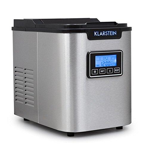 Klarstein Icemeister - Eiswürfelbereiter, Eiswürfelmaschine, Ice Maker, 12 kg / 24 h, 3 Würfelgrößen, Timer, LCD-Display, Selbstreinigungsprogramm, LED-Beleuchtung, Edelstahl, schwarz