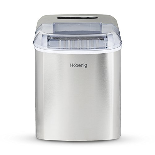 H.Koenig KB14 Eiswürfelmaschine KB14-ca. 12 kg Eiswürfel pro Tag, Produktionszeit 10-13 min. -2 Eiswürfelgrößen-Wasserstandsanzeige, 120 W-Edelstahl-Silber, Kunststoff, 2100 milliliters