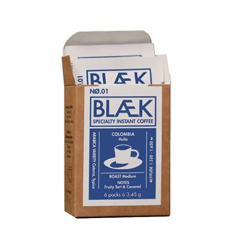BLÆK Specialty Coffee No. 1 - Blaek Premium Instant Kaffee to go - Löslicher Kaffee - 6 Packungen mit je 3,45g - 20,7g - Colombia Huila Roast Medium
