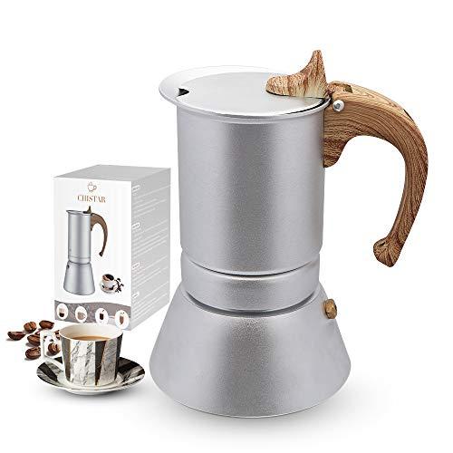 Chicstar 200 ml Espressokocher aus Aluminium für Induktionskochfelder, Mokka, Kaffeemaschine 4 Tassen