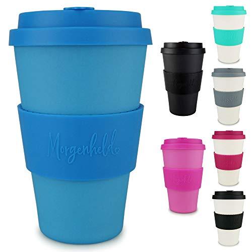 Morgenheld Dein trendiger Bambusbecher | Coffee-to-Go-Becher | Kaffeebecher mit Silikondeckel und Banderole in coolem Design, 400 ml - Just Blue