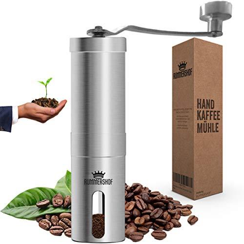 Rummershof Kaffeemühle manuell mit Keramikmahlwerk 2.0 - Handkaffeemühle aus Edelstahl - Espressomühle inkl. Mahlwerk-Bürste und Beutel + ein gepflanzter Baum