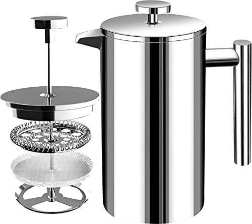 KICHLY French Press Kaffeemaschine | 1 Liter, 1000 ml, 8 Tassen - Doppelwandige Edelstahl-Kaffeekanne für Haushalt, Gewerbe und Camping mit Edelstahlfilter - Silber